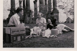 Hubert Creekmore, Eudora, and Eileen McGrath in 1954 enjoying a picnic on grounds of Windsor Ruins in Mississippi