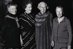 Katherine Hepburn, Alice Tully, Eudora Welty, Hope Williams at Morgan Library, May 1985