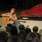"Claire Holley discusses her song ""Pleasant Dreams"" with students at Clinton High School in Mississippi."