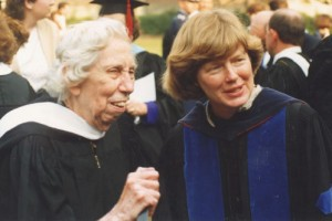 Welty with Suzanne Marrs, Welty biographer and friend, at presidential inauguration of Clyda Rent at Mississippi University for Women, 1989